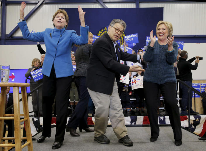 <p>Democratic presidential candidate Hillary Clinton is joined onstage by Sens. Al Franken, D-Minn., and Jeanne Shaheen, D-R.I., at a campaign rally in Portsmouth, on Feb. 6, 2016.<i> (Photo: Brian Snyder/Reuters)</i></p>