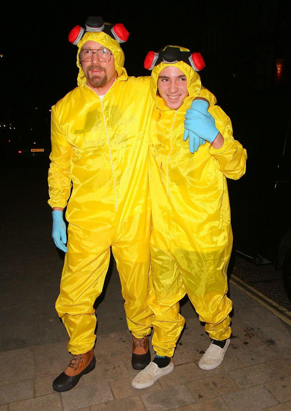 <p>Guy Ritchie and son Rocco attended the 2014 UNICEF Halloween Ball in London, England as the dynamic duo from fan favorite <em>Breaking Bad</em>.</p>