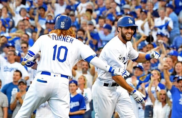 <p>Los Angeles Dodgers outfielder Chris Taylor (3) celebrates with third baseman Justin Turner (10) after hitting a solo home run against the Houston Astros in the first inning in game one of the 2017 World Series at Dodger Stadium. Mandatory Credit: Jayne Kamin-Oncea-USA TODAY Sports </p>