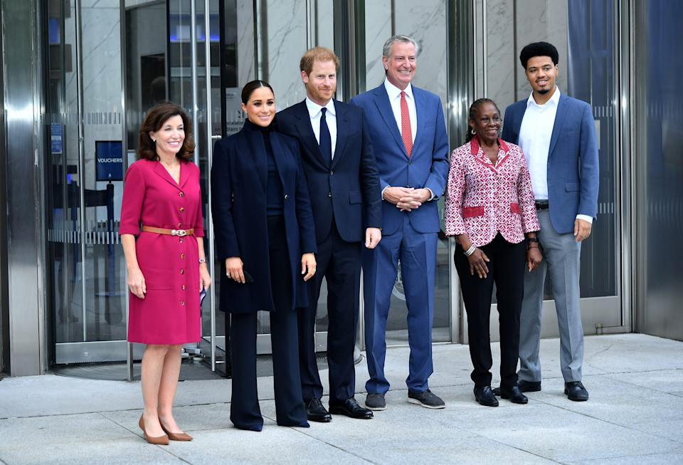 From left, Gov. Kathy Hochul, Duchess Meghan, Prince Harry, NYC Mayor Bill De Blasio, Chirlane McCray and Dante de Blasio pose at One World Observatory on Sept. 23, 2021, in New York City.