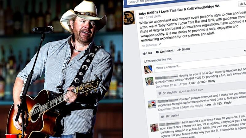 Toby Keith Restaurant's 'No Guns' Policy Under Fire From Fans