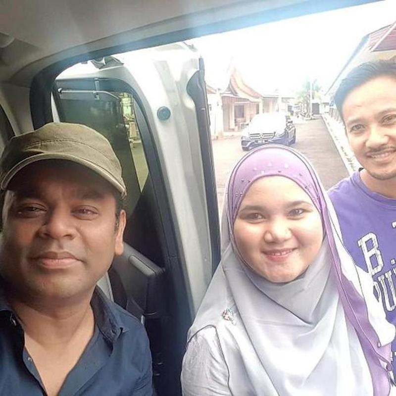 Instagram user @zurahamie and husband grab a selfie with AR Rahman in Pulau Besar in Malacca.