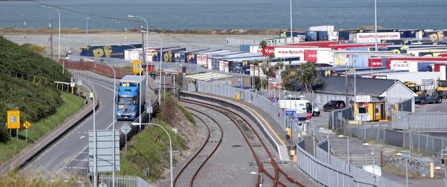 Freight lorries at Rosslare Europort in Co Wexford, Ireland (Niall Carson/PA)