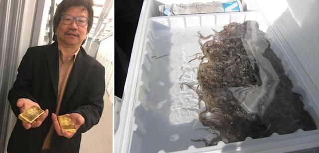 Khoo, left, and eels to be smuggled, right. (PA Images/NCA)