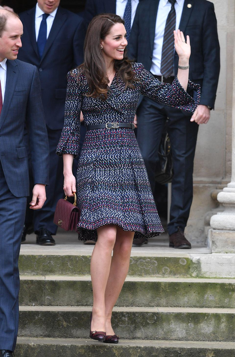 <p>The Duchess of Cambridge wearing a tweed Chanel coat dress and bag in Paris in 2017 [Photo: Getty] </p>