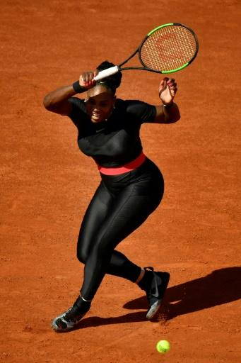 Dressed to impress: Serena Williams in her now-famous catsuit on her way to victory over Kristyna Pliskova