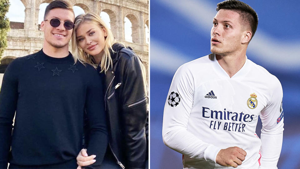 Luka Jovic, pictured here with his girlfriend and in action for Real Madrid.