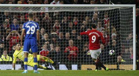 Britain Football Soccer - Manchester United v Everton - Premier League - Old Trafford - 4/4/17 Manchester United's Zlatan Ibrahimovic scores their first goal from the penalty spot Reuters / Andrew Yates Livepic