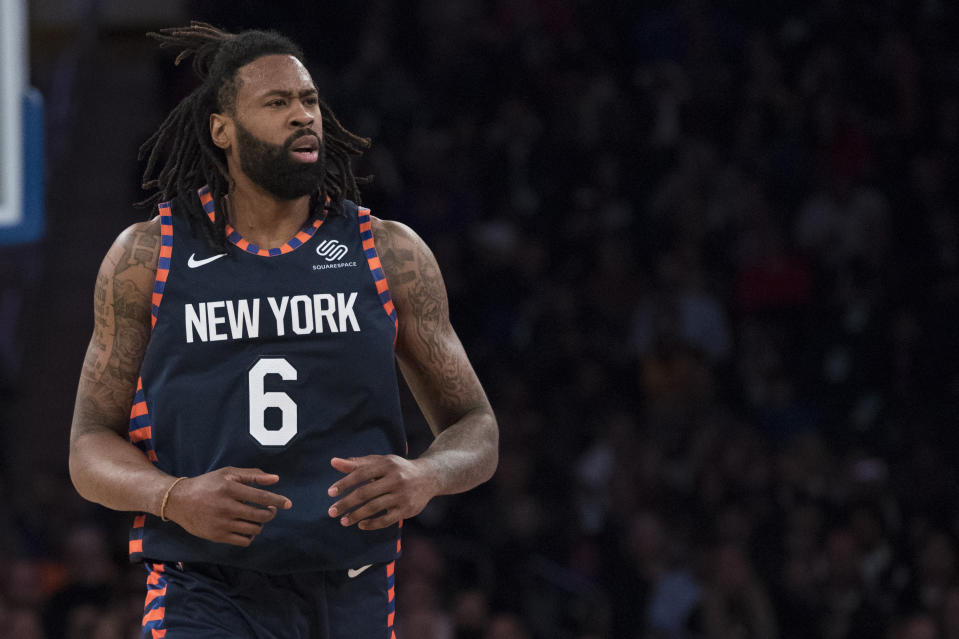 New York Knicks center DeAndre Jordan reacts during the first half of an NBA basketball game against the Utah Jazz, Wednesday, March 20, 2019, at Madison Square Garden in New York. (AP Photo/Mary Altaffer)