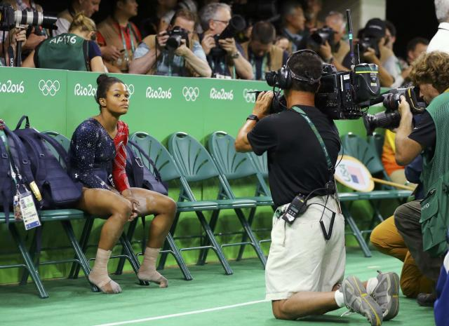2016 Rio Olympics - Artistic Gymnastics - Preliminary - Women's Qualification - Subdivisions - Rio Olympic Arena - Rio de Janeiro, Brazil - 07/08/2016. Gabrielle Douglas (USA) of USA (Gabby Douglas) waits for her score after competing on the beam during the women's qualifications. REUTERS/Mike BlakeFOR EDITORIAL USE ONLY. NOT FOR SALE FOR MARKETING OR ADVERTISING CAMPAIGNS.
