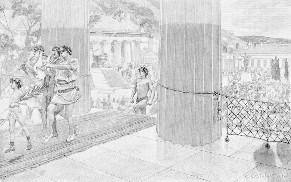 ANCIENT OLYMPIC GAMES; A VICTOR IN THE OLYMPIC GAMES ENTERING THE TEMPLE OF ZEUS. ENGRAVING, DRAWN BY A.CASTAIGNE.