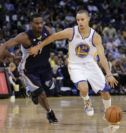 Golden State Warriors' Stephen Curry, right, drives the ball past Memphis Grizzlies' Tony Allen during the first half of an NBA basketball game Wednesday, March 7, 2012, in Oakland, Calif. (AP Photo/Ben Margot)