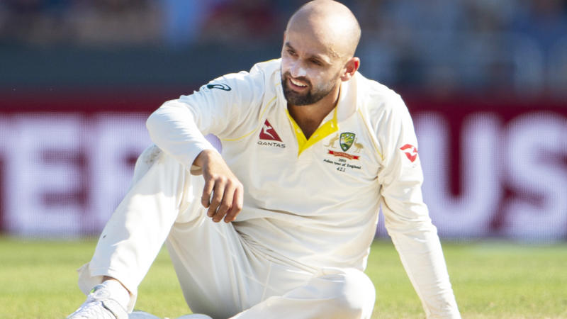 Nathan Lyon is pictured after an unsuccessful LBW appeal during the 2019 Ashes series.