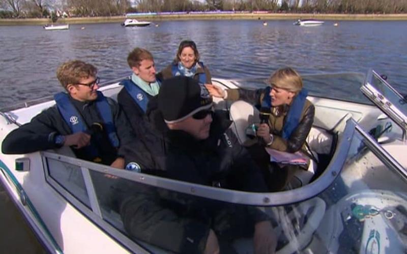 Clare Balding pointing boat  - Credit: Clare Blading