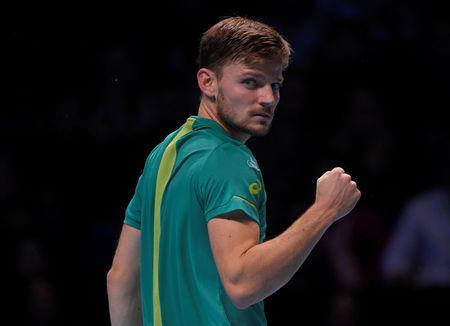 Tennis - ATP World Tour Finals - The O2 Arena, London, Britain - November 18, 2017 Belgium's David Goffin celebrates after winning the second set in his semi final match against Switzerland's Roger Federer REUTERS/Toby Melville