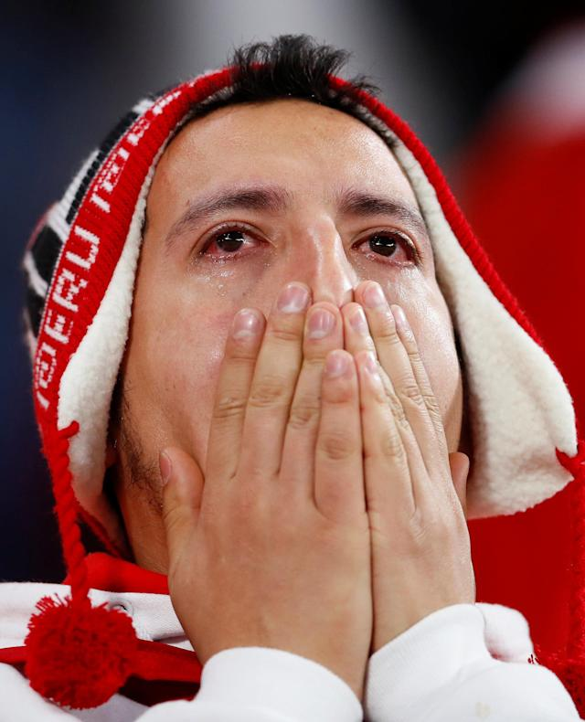 Soccer Football - World Cup - Group C - France vs Peru - Ekaterinburg Arena, Yekaterinburg, Russia - June 21, 2018 Peru fan looks dejected after the match REUTERS/Jason Cairnduff