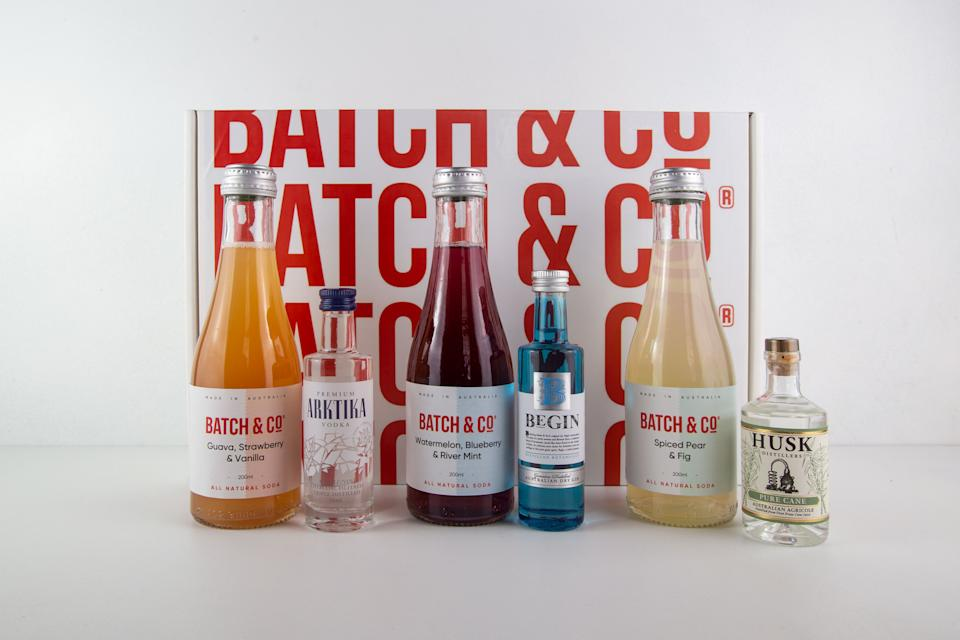 Batch & Co cocktail kit The Batch & Co cocktail gift box makes with six different yummy cocktails. Photo: Supplied
