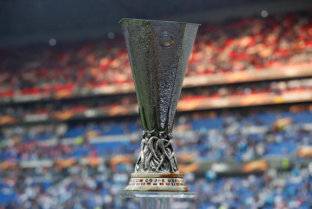 Soccer Football - Europa League Final - Olympique de Marseille vs Atletico Madrid - Groupama Stadium, Lyon, France - May 16, 2018 General view of the Europa League trophy before the match REUTERS/Peter Cziborra