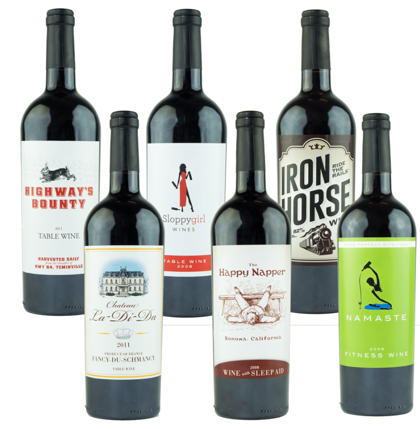 There are hilarious bogus wine labels available, too.