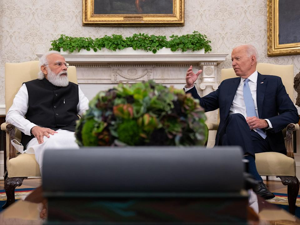 President Joe Biden and Indian Prime Minister Narendra Modi participate in a bilateral meeting in the Oval Office of the White House on September 24, 2021 in Washington, DC (Getty Images)