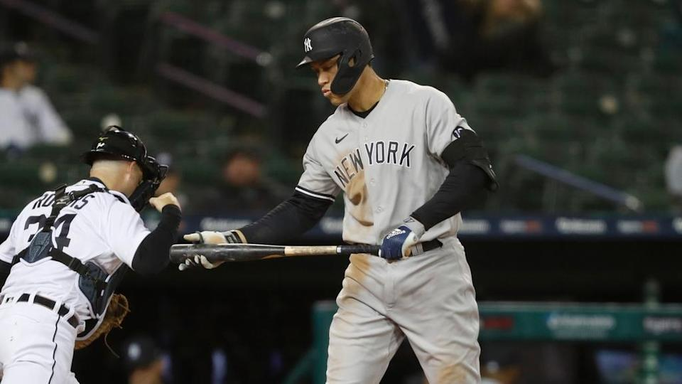 Aaron Judge looks dejected after striking out vs. Tigers