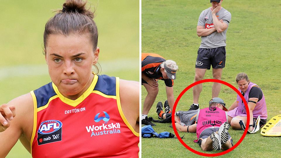Adelaide's Ebony Marinoff has been handed a three-game suspension over the incident that saw GSW Giants recruit Brid Stack rushed to hospital with a fractured neck. Pictures: Getty Images