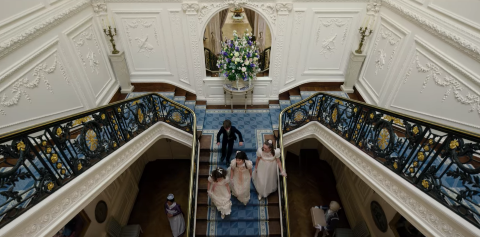 """<p>Moments into the first episode, viewers are swept into the luxurious lodgings of one of London's most prominent families. """"The interior of Bridgerton House was inspired by my visit to Althorp when I was developing the show. Elegance. Opulence. And that #staircase,"""" Chris Van Dusen <a href=""""https://twitter.com/chrisvandusen/status/1342999203207778306"""" rel=""""nofollow noopener"""" target=""""_blank"""" data-ylk=""""slk:tweeted"""" class=""""link rapid-noclick-resp"""">tweeted</a>.</p>"""
