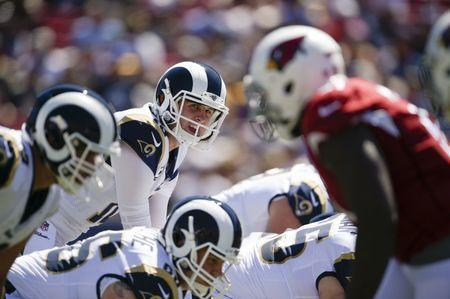 Sep 16, 2018; Los Angeles, CA, USA; Los Angeles Rams quarterback Jared Goff (16) prepares for the snap against the Arizona Cardinals during the first half at Los Angeles Memorial Coliseum. Mandatory Credit: Kelvin Kuo-USA TODAY Sports