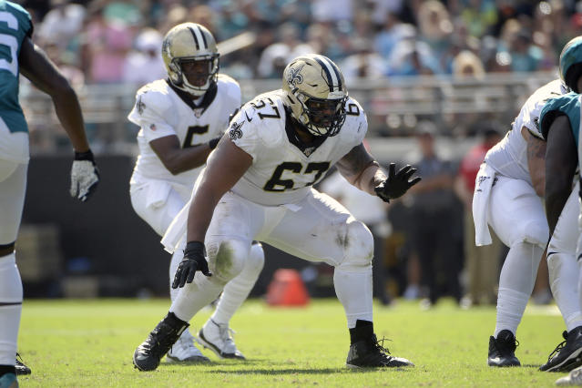 FILE - In this Oct. 13, 2019, file photo, New Orleans Saints offensive guard Larry Warford (67) sets up to block for quarterback Teddy Bridgewater (5) during the second half of an NFL football game against the Jacksonville Jaguars in Jacksonville, Fla. After being selected for the last three Pro Bowls, Warford was cut by New Orleans earlier this month. He immediately became the most enticing offensive lineman on the market, and will likely find a starting spot somewhere. (AP Photo/Phelan M. Ebenhack, File)