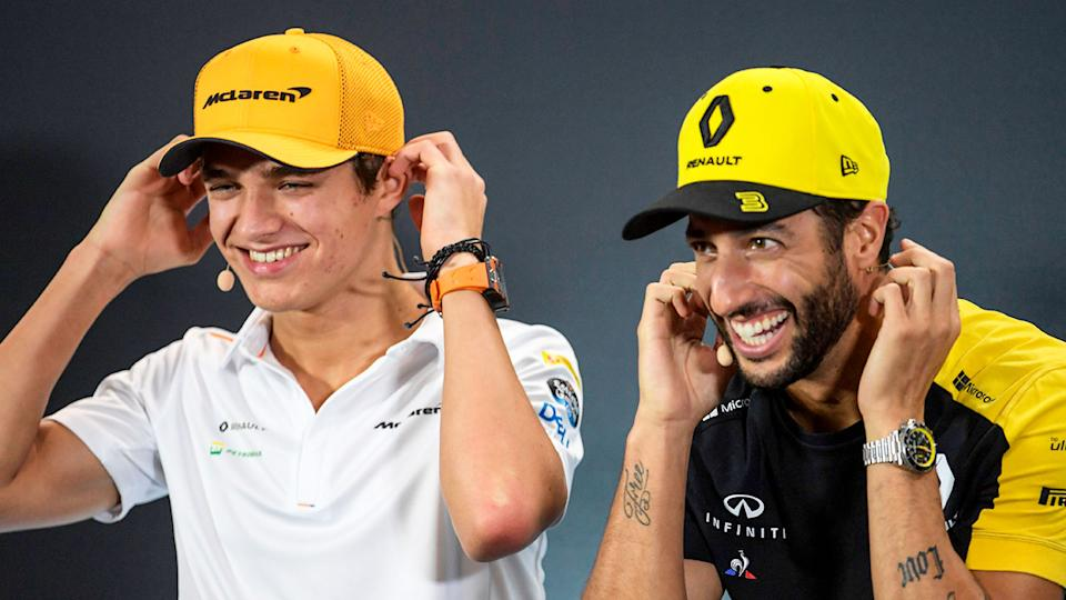 Pictured here, McLaren's Lando Norris and Daniel Ricciardo will be teammates in 2021.