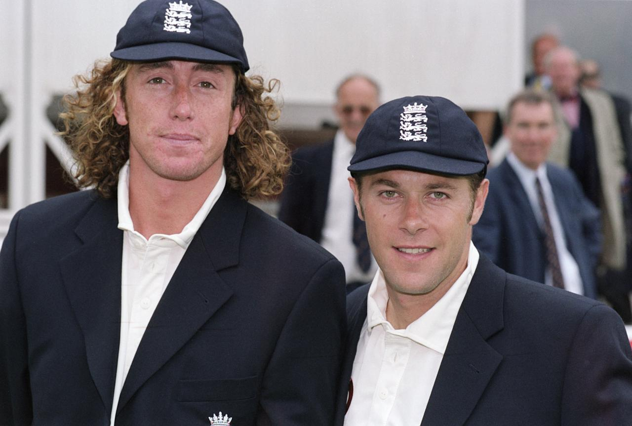 18 May 2001:  Portrait of Ryan Sidebottom and Ian Ward of England with their new caps during the first test match against Pakistan played at the Lords Cricket Ground, in London. \ Mandatory Credit: Tom Shaw /Allsport