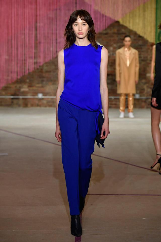 <p>Models wears a monochromatic cobalt blue top and trousers at the Milly Fall/Winter 2018 show. (Photo: Courtesy of Greg Kessler) </p>