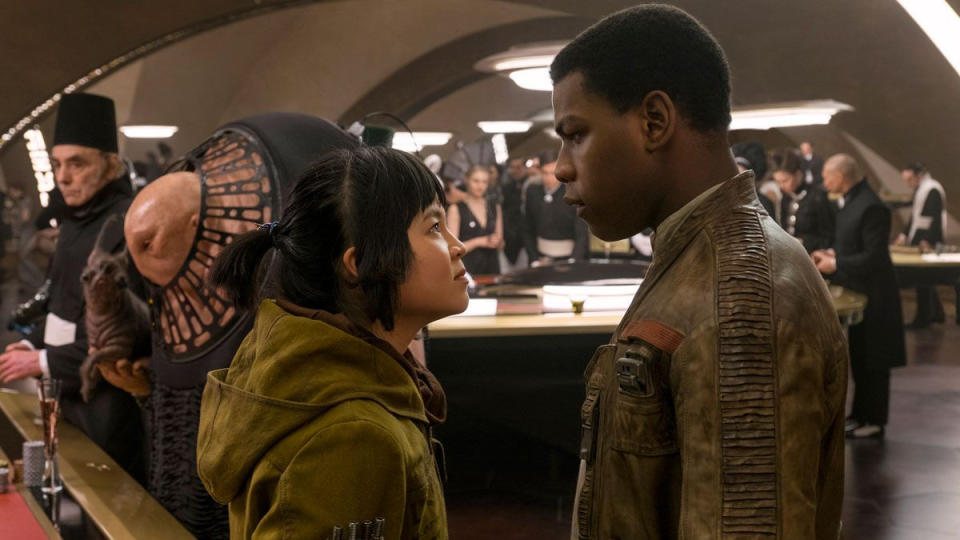 Kelly Marie Tran and John Boyega in 'Star Wars: The Last Jedi'. (Credit: Disney/Lucasfilm)