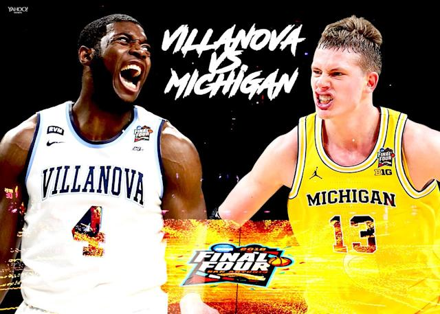 Villanova's Eric Paschall and Michigan's Moritz Wagner will square off in the national championship. (Illustration: Lorrie Reyes/Yahoo Sports)