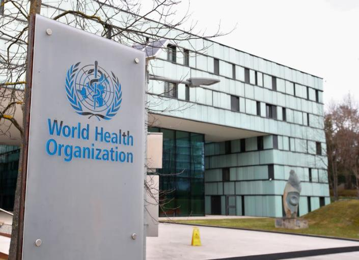 FILE PHOTO: FILE PHOTO: A logo is pictured outside a building of the WHO in Geneva