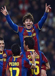 Lionel Messi has scored 45 goals for Barcelona this season and is after the La Liga and Champions League titles