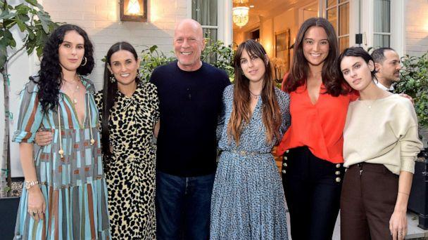 PHOTO: Rumer Willis, Demi Moore, Bruce Willis, Scout Willis, Emma Heming Willis and Tallulah Willis attend Demi Moore's 'Inside Out' Book Party, Sept. 23, 2019, in Los Angeles. (Stefanie Keenan/Getty Images)
