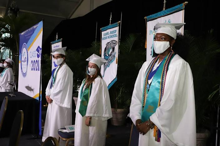 Graduates of Coral Reef Senior High, Class of 2021, at their commencement ceremonies Tuesday, June, 1, at the Miami-Dade Fair & Expo.