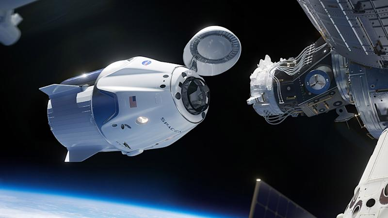 Artistic representation of the SpaceX Crew Dragon link with the International Space Station