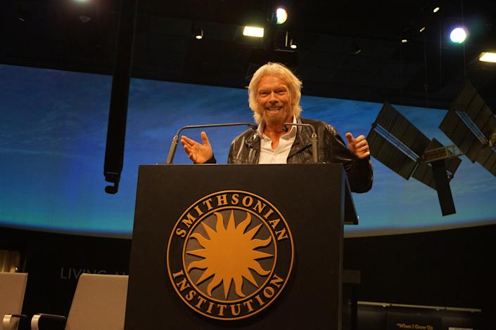 Virgin Galactic founder Sir Richard Branson at a ceremony unveiling Virgin Galactic's donation to the Smithsonian's National Air and Space Museum — the rocket motor from SpaceShipTwo, VSS Unity. <cite>Chelsea Gohd/Space.com</cite>