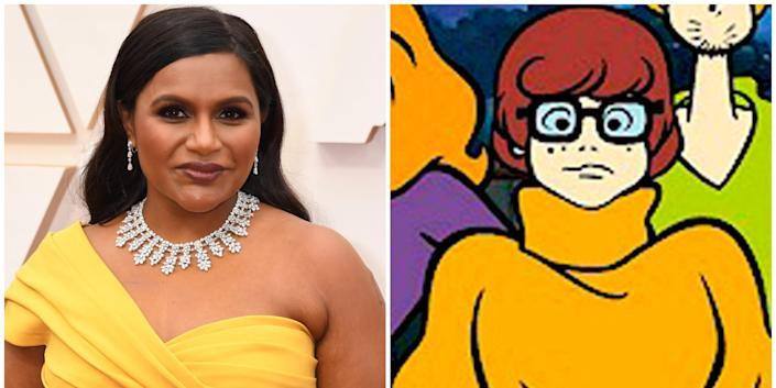 """Wide preview of Mindy Kaling and """"Scooby-Doo"""" character Velma Dinkley."""