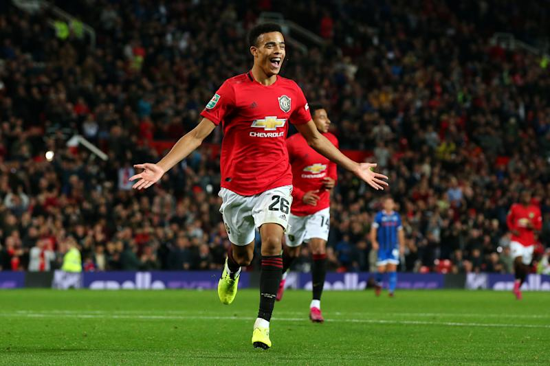 Mason Greenwood celebrates his equaliser at Old Trafford. (Credit: Getty Images)