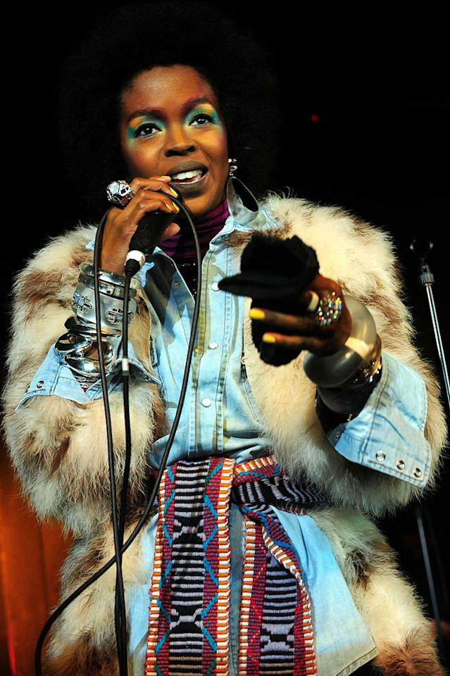 """Also spotted in Park City at the annual Sundance Film Festival ... former Fugee Lauryn Hill, who performed a set of her latest songs while wearing this ghastly getup and more than her fair share of eye-raising eye makeup. Gustavo Caballero/<a href=""""http://www.filmmagic.com/"""" target=""""new"""">FilmMagic.com</a> - January 26, 2011"""