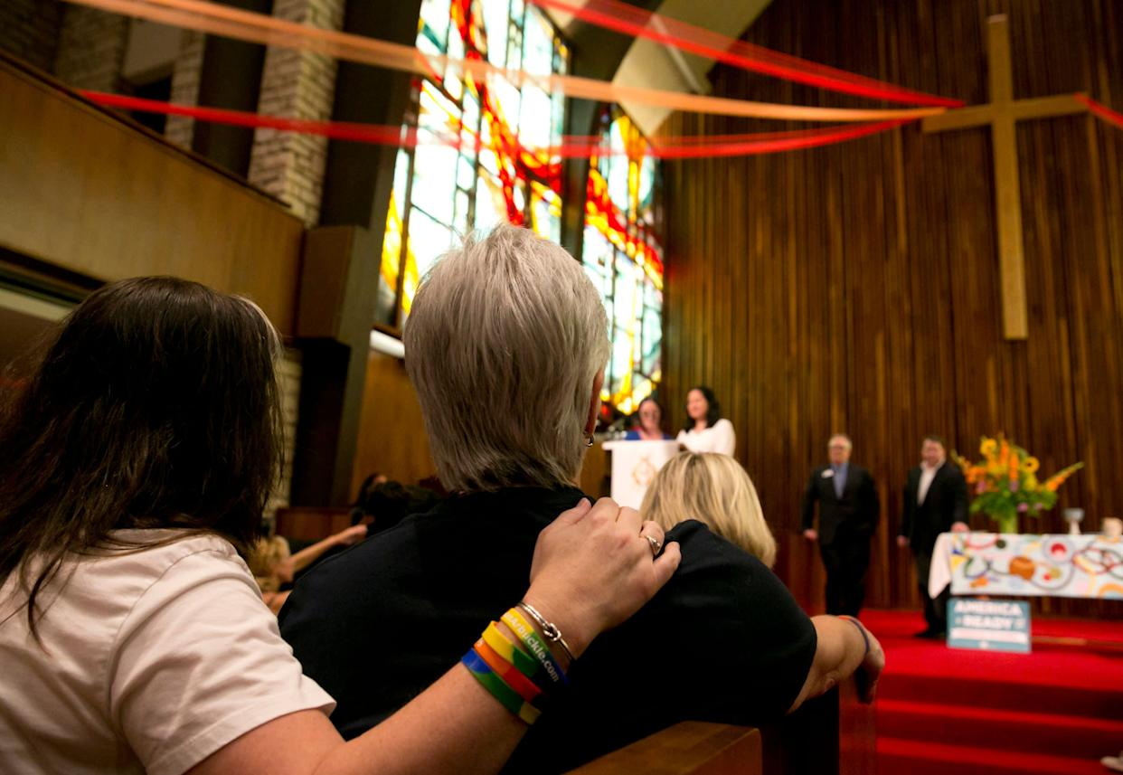 """Since 2014, the Presbyterian Church (U.S.A.), America&rsquo;s largest Presbyterian denomination, has allowed its pastors to officiate same-sex ceremonies. In March 2015, the church <a href=""""http://www.huffingtonpost.com/2015/03/17/pcusa-lgbt-book-of-order_n_6885966.html"""" rel=""""nofollow noopener"""" target=""""_blank"""" data-ylk=""""slk:adopted a more inclusive definition of marriage in its constitution"""" class=""""link rapid-noclick-resp"""">adopted a more inclusive definition of marriage in its constitution</a>, describing it as a union &ldquo;between two people.&rdquo;"""