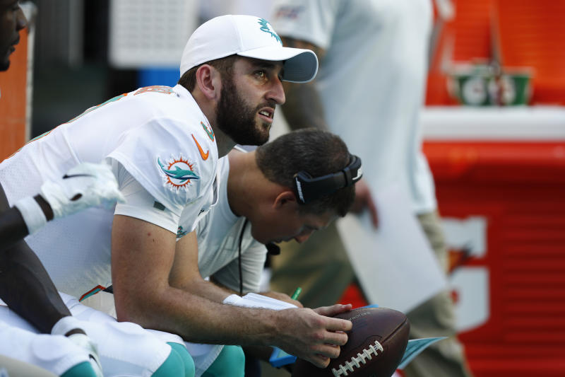 """FILE - In this Sunday, Sept. 8, 2019, file photo, Miami Dolphins quarterback Josh Rosen (3) looks up from the sidelines during the second half at an NFL football game in Miami Gardens, Fla. You can take that """"any given Sunday"""" bromide and toss it out with some of Case Keenum's interceptions. So far in 2019, there is a Grand Canyon of separation between the contenders and everybody else. (AP Photo/Brynn Anderson, File)"""
