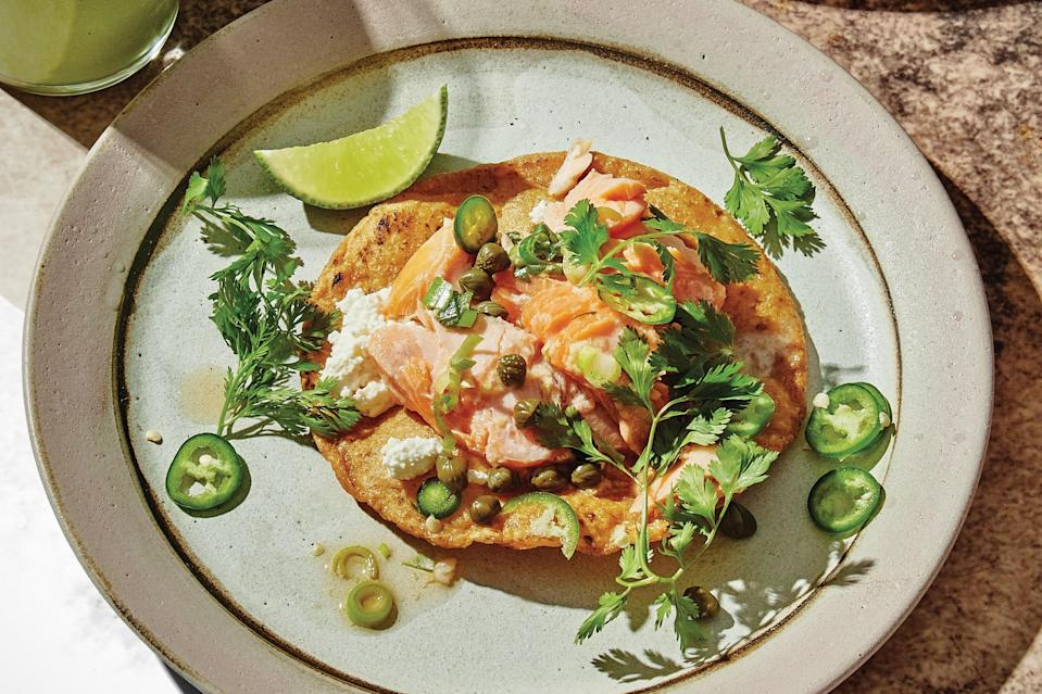 "A gingery fish sauce vinaigrette brightens every bite of these crunchy, creamy, vibrant tostadas. Feel free to use salmon or arctic char. <a href=""https://www.epicurious.com/recipes/food/views/arctic-char-tostadas?mbid=synd_yahoo_rss"" rel=""nofollow noopener"" target=""_blank"" data-ylk=""slk:See recipe."" class=""link rapid-noclick-resp"">See recipe.</a>"