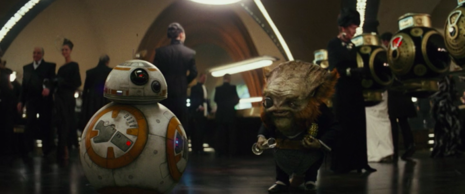Dobbu Scay, right, played in motion capture by Mark Hamill (screen grab from <em>The Last Jedi</em>/Lucasfilm)