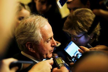 U.S. Senator Bob Corker (R-TN) speaks to reporters as he leaves the Senate floor during votes on the Republican tax plan in Washington November 30, 2017. REUTERS/James Lawler Duggan