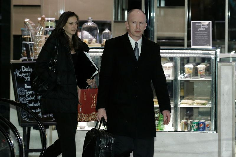 The head of the U.S. trade delegation Jeffrey Gerrish arrives at a hotel after talks with Chinese officials in Beijing