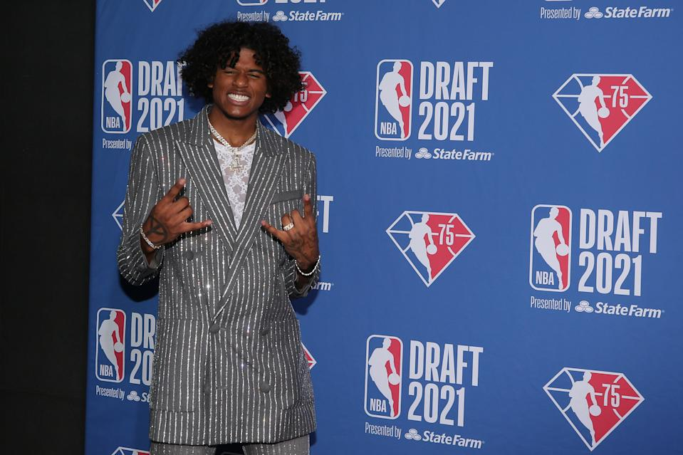 No. 2 overall pick Jalen Green looked the part of a human highlight reel at the 2021 NBA draft. (Brad Penner/USA Today Sports)
